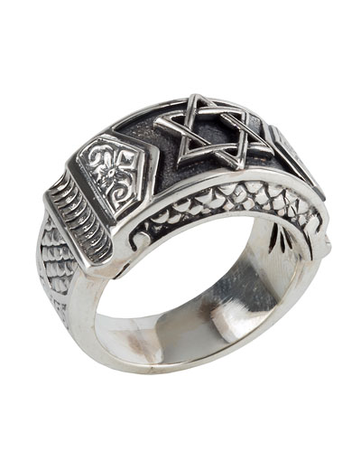 Men's Sterling Silver Star of David Ring