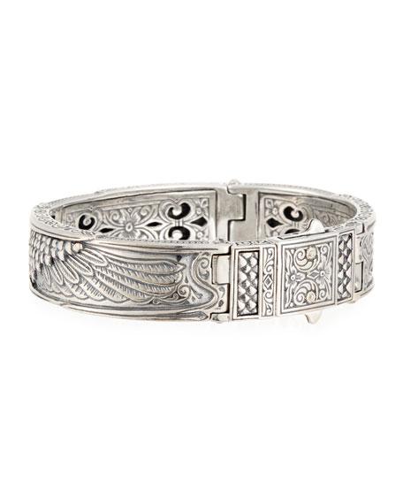 Heonos Men's Sterling Silver/Gold Eagle Hinge Bracelet