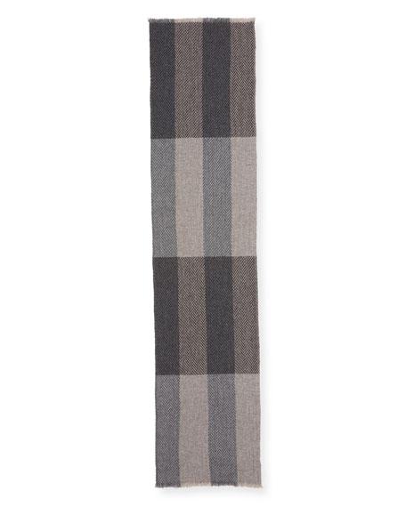 Colorblock Cashmere Herringbone Scarf