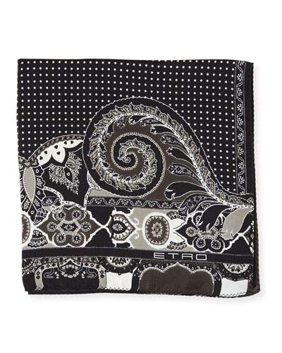Paisley/Dot Silk Pocket Square