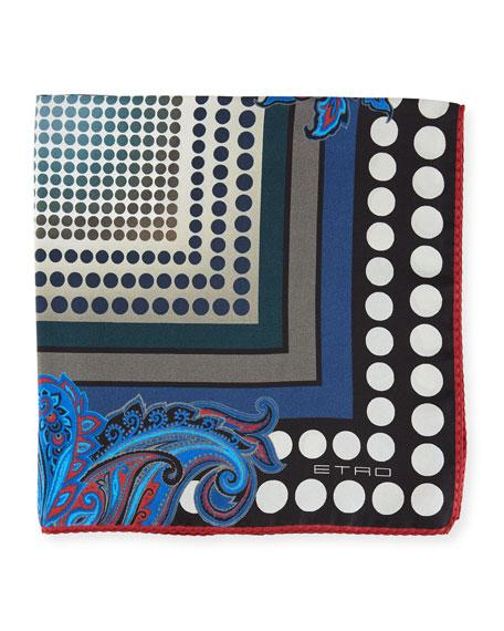 Paisley/Ombre-Dot Silk Pocket Square