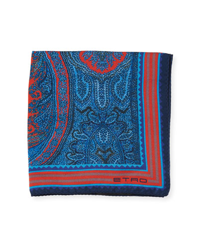 Framed Paisley Silk Pocket Square