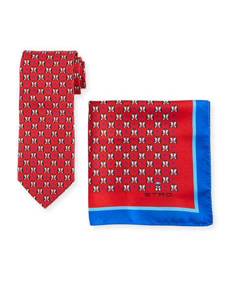 Etro Penguins Boxed Tie & Pocket Square Set