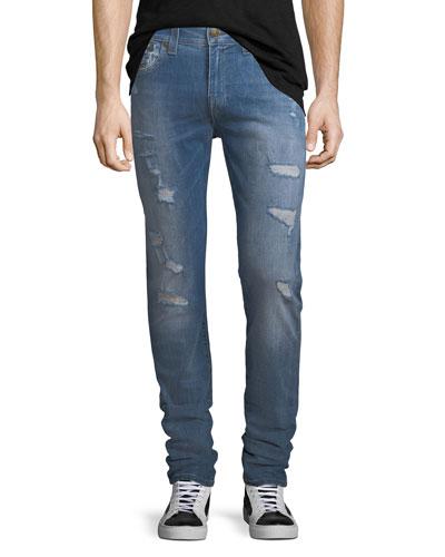 Rocco Worn Riff Distressed Skinny Jeans