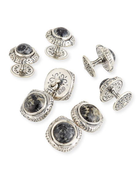 Konstantino Heonos Black Coral Cuff Links/Studs Set