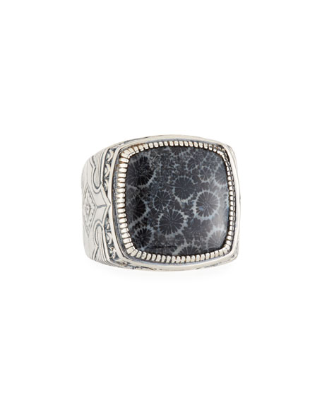 Konstantino Heonos Men's Square Black Coral Ring