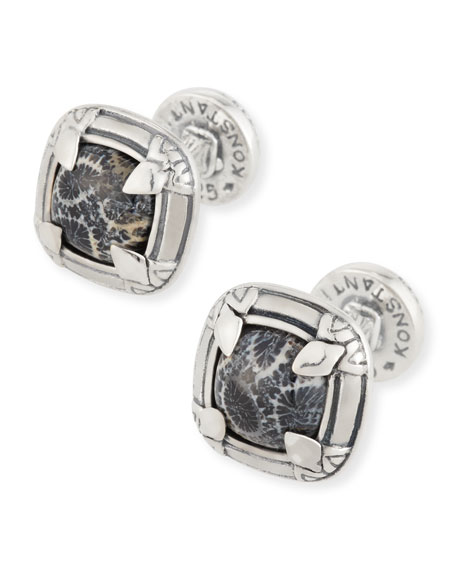 Konstantino Heonos Square Black Coral Cuff Links