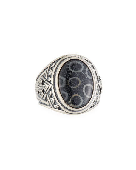 Konstantino Heonos Men's Oval Black Coral Ring