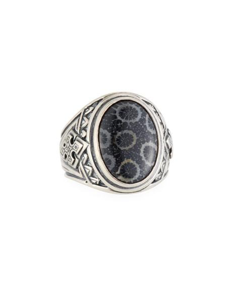 Heonos Men's Oval Black Coral Ring