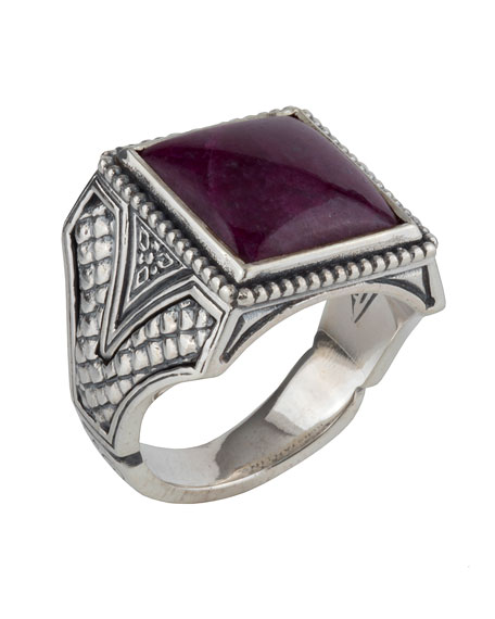 Men's Sterling Silver Signet Ring with Ruby Root