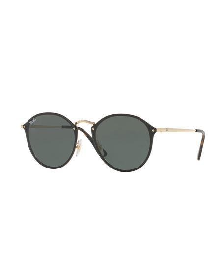 Blaze Round Flat Mirrored Sunglasses