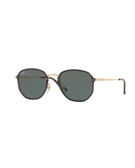 Blaze Hexagonal Sunglasses, Gold/Black