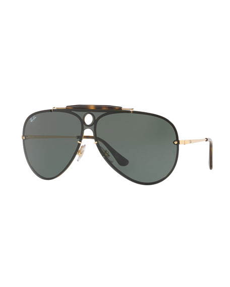 Ray-Ban Blaze Shooter Flat Shield Sunglasses, Black/Gold