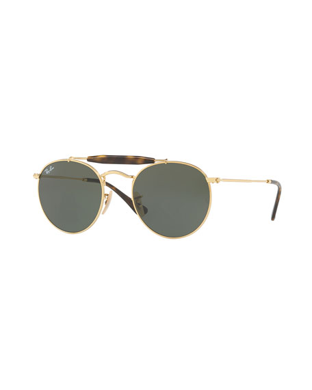 Ray-Ban Contrast Brow-Bar Round Universal Fit Sunglasses