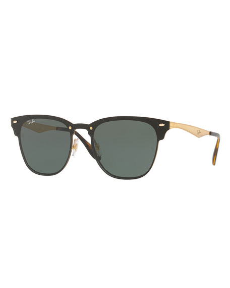 Ray-Ban Blaze Clubmaster Lens-Over-Frame Sunglasses, Black/Gold