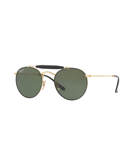 Contrast Brow-Bar Round Universal Fit Sunglasses