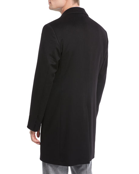 Single-Breasted Cashmere Top Coat, Black