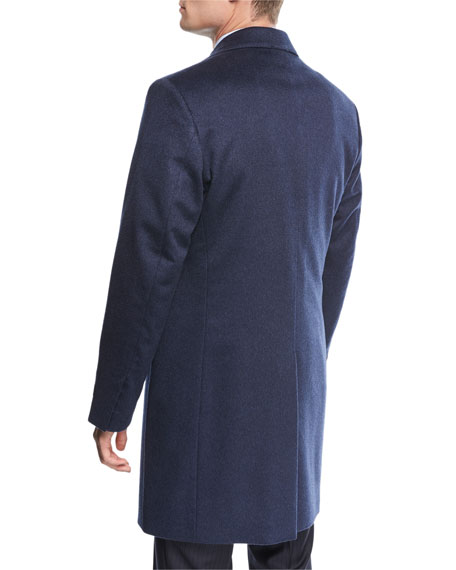Single-Breasted Cashmere Top Coat, Blue