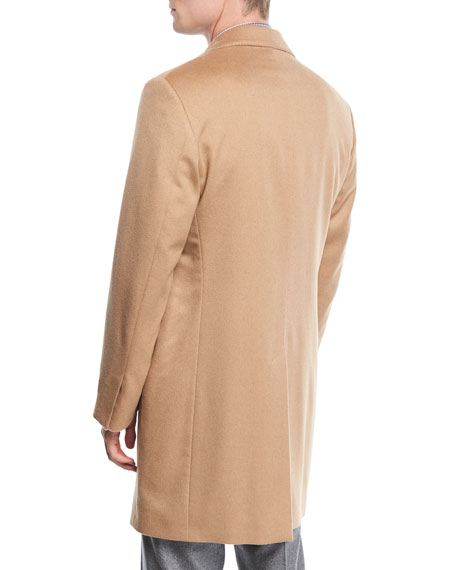 Single-Breasted Camel Hair Top Coat, Beige