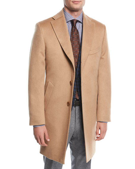 Neiman Marcus Single-Breasted Camel Hair Top Coat, Beige