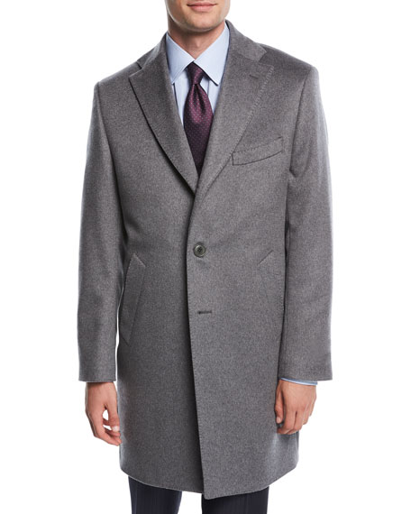 Single-Breasted Cashmere Top Coat, Gray