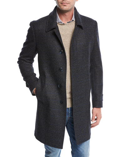 Single-Breasted Plaid Wool Top Coat