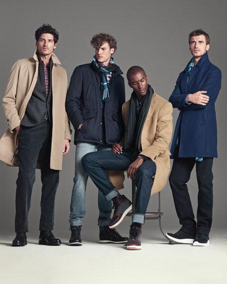 Wool Single-Breasted Top Coat, Blue