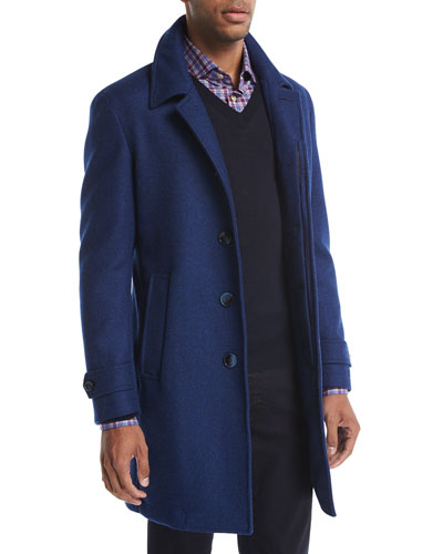 Wool Single-Breasted Top Coat, Blue