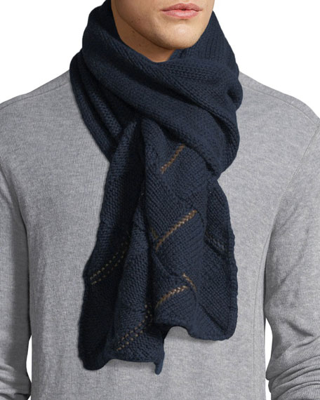 Il Borgo Cashmere Leather-Trim Scarf