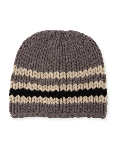 Cashmere Striped Loose-Knit Beanie Hat
