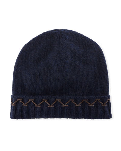 Knit Cashmere Beanie Hat w/ Leather Stitch Detail