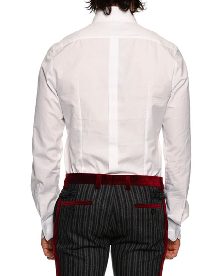 DOLCE & GABBANA Crown-Collar Cotton Shirt, White
