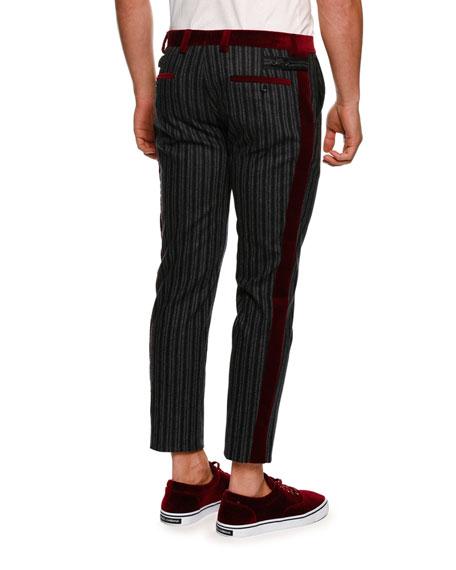 DOLCE & GABBANA Velvet-Trim Striped Pants, Medium Gray
