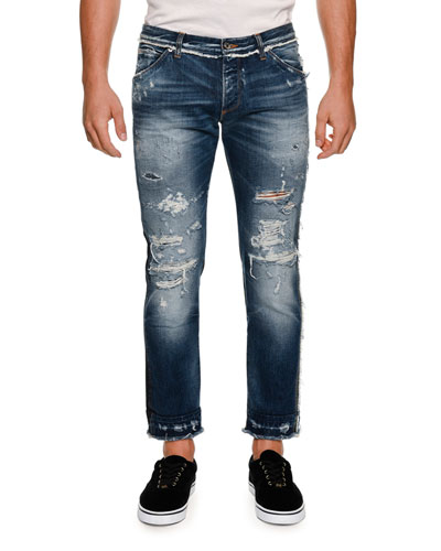 Paneled Distressed Straight-Leg Jeans