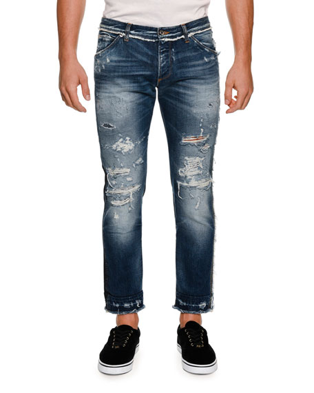 Dolce & Gabbana Paneled Distressed Straight-Leg Jeans