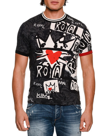 Dolce & Gabbana Royal Graffiti Cotton T-Shirt