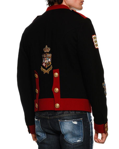 DOLCE & GABBANA Military Crest Short Jacket, Black
