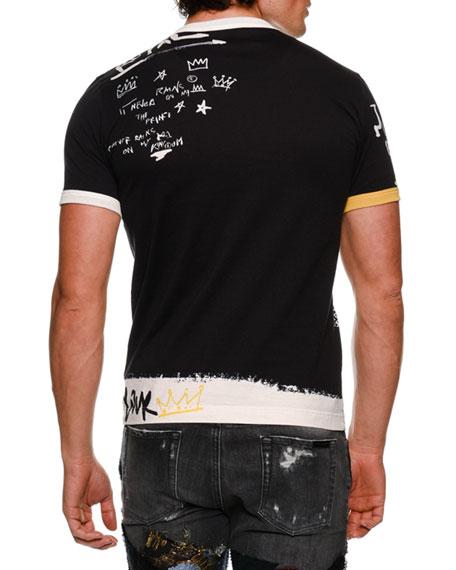 DOLCE & GABBANA Royal Scribble Crewneck T-Shirt, Black