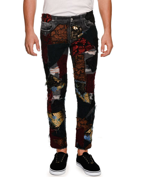 Dolce & Gabbana Brocade-Patchwork Straight-Leg Jeans