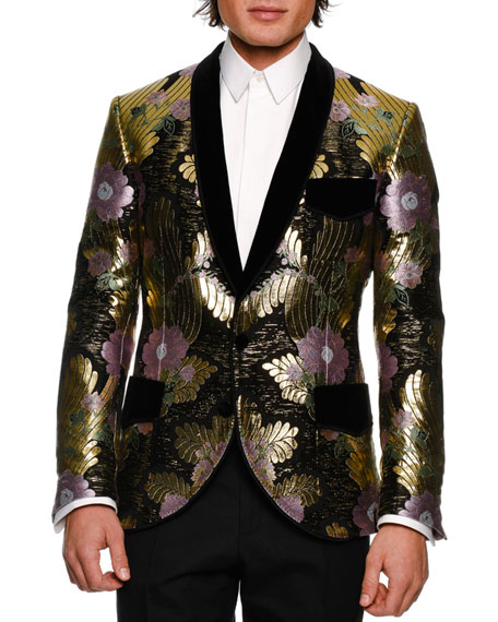 Dolce & Gabbana Metallic Floral Brocade Dinner Jacket