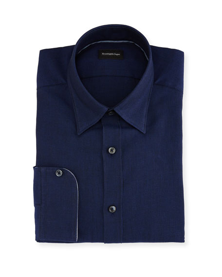 Ermenegildo Zegna Woven Mesh Dress Shirt, Navy
