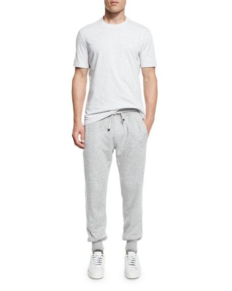 Cashmere-Blend Banded Jogger Pants, Light Gray