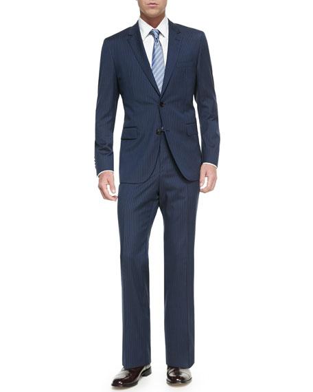 BOSS Double Pinstripe Two-Piece Suit, Blue