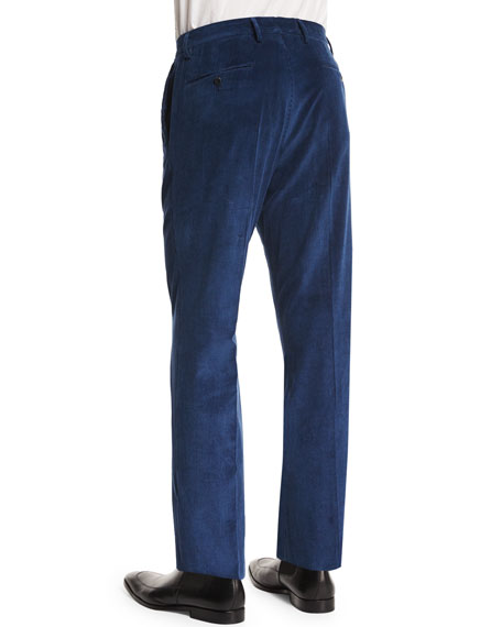 Wide-Whale Corduroy Trousers, Navy