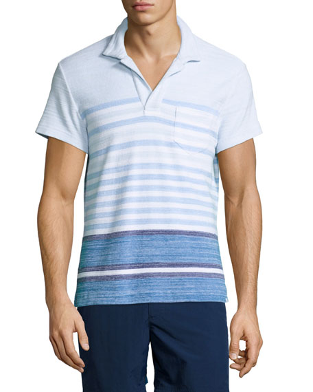 Orlebar Brown Terry Striped Polo Shirt, Maritime/Iris