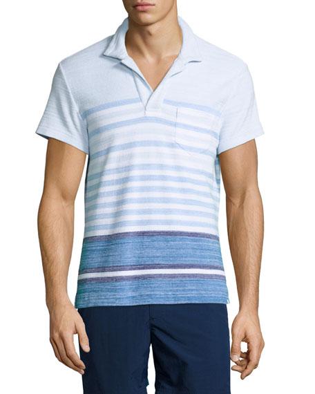 Orlebar Brown Terry Striped Polo Shirt, Maritime/Iris