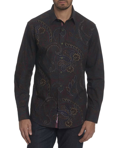 Robert Graham Carlyle Paisley Cotton Sport Shirt