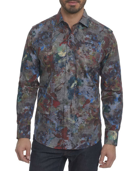 Robert Graham Big Nova Floral Plaid Sport Shirt