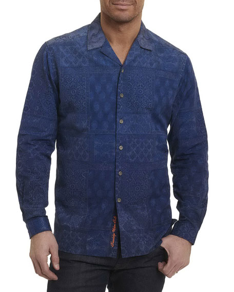 Robert Graham Blue Mountain Tiled Paisley Sport Shirt