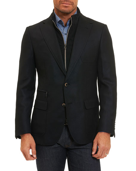 Robert Graham Downhill Wool-Cashmere Blazer with Warmer